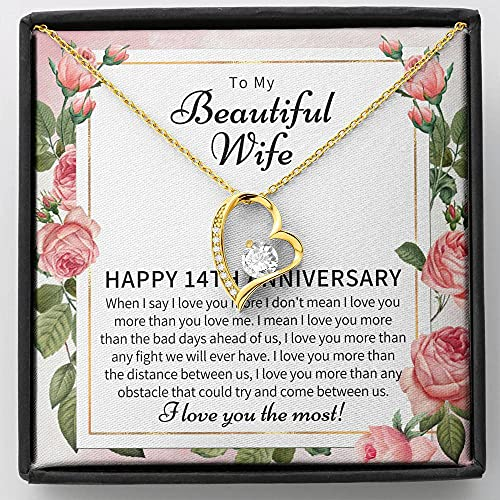 14 Year Wedding Jewelry Gift For Wife – 14 Year Anniversary Necklace Gift For Her – 14th Anniversary Wedding Present – 14th Wedding Anniversary Wife Gift – FLSG00014-21