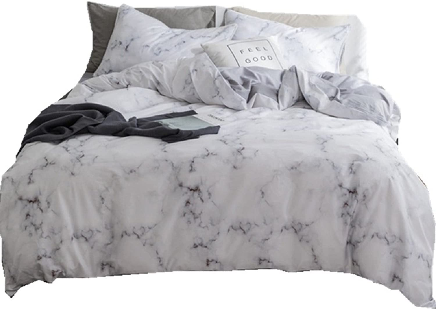 Jane yre Marble Duvet Cover Set White Queen Cotton,Modern Nature Granite Bedding Sets for Kids Boys Girls,Reversible Grey Pattern,Super Soft Hypoallergenic,Fade-Resistant,Wrinkle-Resistant 3 Pieces