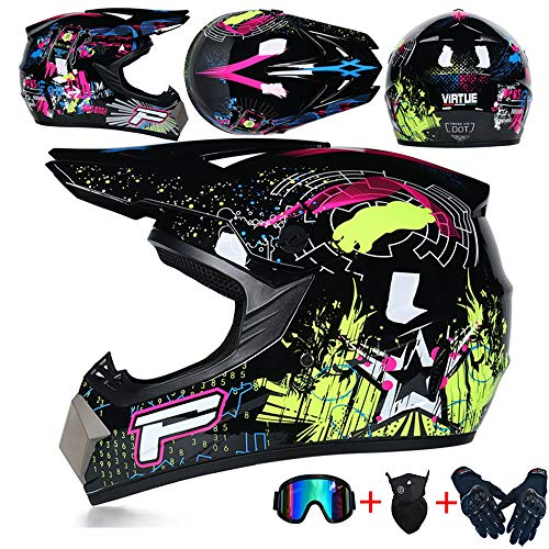 JCLDG Carretera Moto Casco Adulto Motocross Casco Off-Road Motorcycle Helmet Kit Casco Integral Unisex Enduro Quad MTB Downhill ATV con Gafas Guantes Máscara para Hombres Mujeres,Negro,S