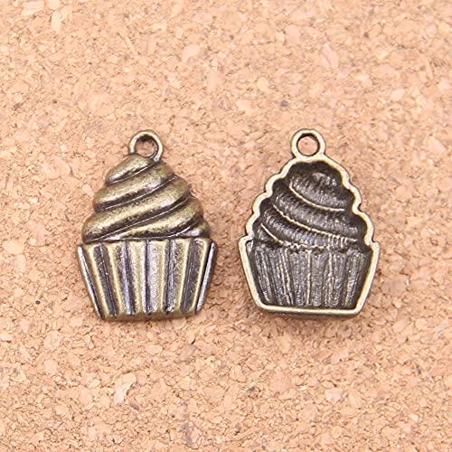 WANM Colgante 16 Uds Encantos Helado De Cupcake 20X15Mm Colgantes Antiguos Vintage Plata Tibetana Joyería DIY para Collar Pulsera