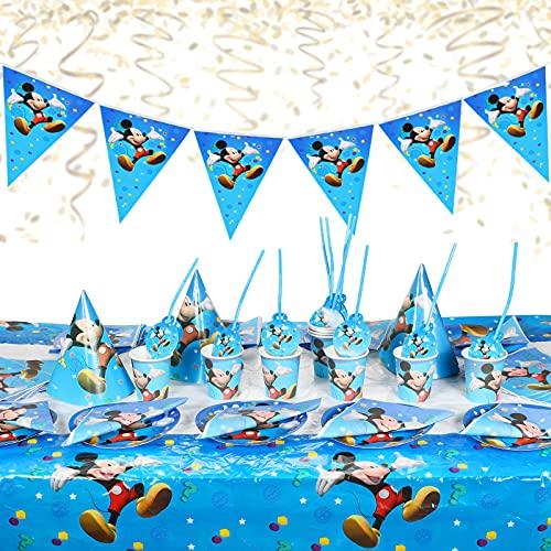 Mickey Party Supplie,Set de Vaisselle Mickey Anniversaire,Fête Articles pour Filles Enfants 88 pcs Mickey Décorations et Vaisselles,Assiettes Tasses Serviettes Nappe Ustensiles,Sert 10 Invités