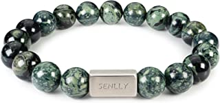 SENLLY Beaded Bracelet with 10mm Natural Gemstone, Energy Protection Healing Chakra Stretch Bracelet for Men Women