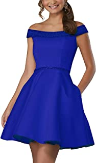 Jonlyc A-Line Off The Shoulder Satin Beaded Short Homecoming Dresses Prom Evening Gown with Pockets