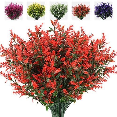 Fiori artificiali in plastica per esterni, 8 fasci fiori di lavanda finti, Bouquet di fiori di lavanda per la Decorazione di Cerimonia Nuziale Giardino Domestico Portico Box (arancia)
