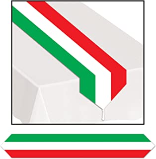 Printed Red, White & Green Table Runner Party Accessory (1 count) (1/Pkg)