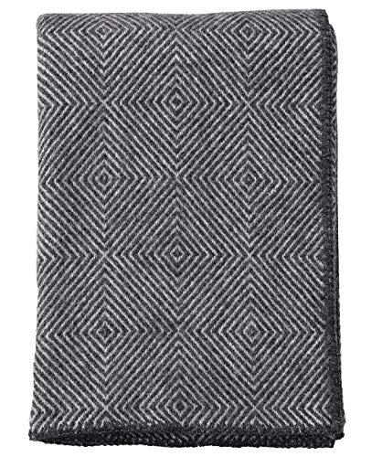 Klippan: Wolldecke 'Nova' Rautenmuster, 130x180cm umkettelt, Lambswool Plaid (grau)