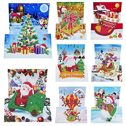 8pcs Special-shaped Diamond Painting Cross Stitch Christmas Greeting Cards