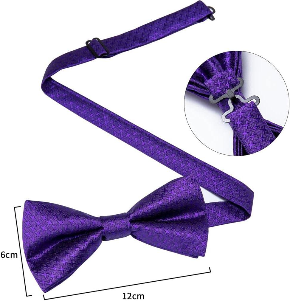 CDQYA Fashion Men's Bowtie Purple Dot Solid Silk Jacquard Woven Bowties for Men Butterfly Bowtie Cufflinks