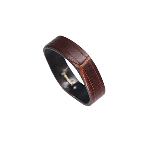 20mm Brown Watch Band Ring Holder Alligator Embossed Italian Calfskin Leather