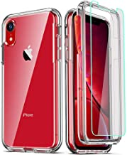 COOLQO Compatible for iPhone XR Case, with [2 x Tempered Glass Screen Protector] Clear 360 Full Body Coverage Hard PC+Soft Silicone TPU 3in1 [Heavy Duty Shockproof Defender] Phone Protective Cover