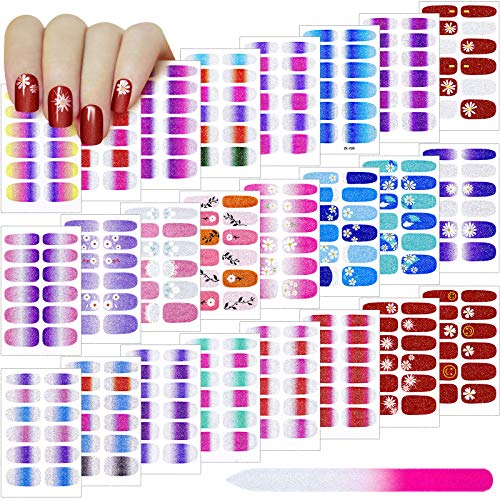 24 Sheets Nail Polish Sticker 288 Pieces Gradient Glitter Full Wraps Self-Adhesive Nail Art Decals False Nail Design Manicure Stickers Set with Nail File for DIY Nail Art (Chic Flower Series)