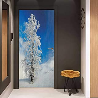 Onefzc Door Wall Sticker Winter Lonely Tree on Snow Covered Land Cloudy Sky Rural Scenery in January Cold Country Mural Wallpaper W30 x H80 Blue White