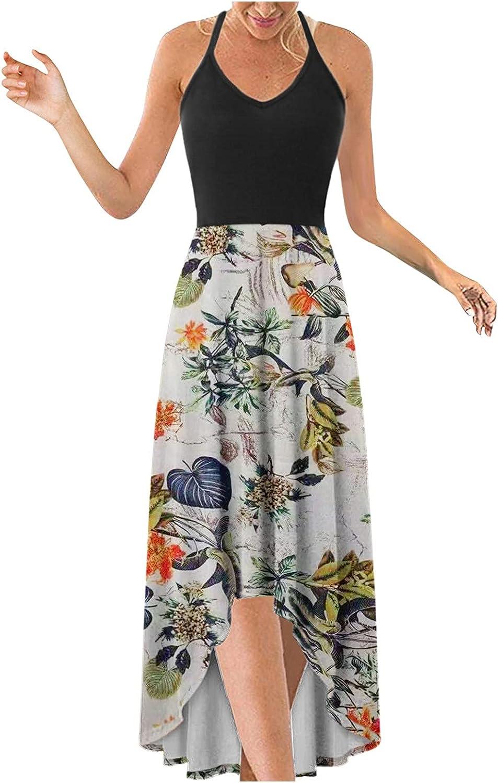 WYTong Women Party Maxi Dress V-Neck Denver Mall Irregular Hem A surprise price is realized Elegant Print