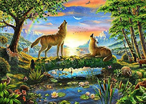 Puzzel Für Erwachsene 1000 Teile Wölfe Im Urwald, Sternenhimmel Wohnkultur Gemälde 75X50Cm