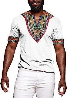 Mens Dashiki African Shirt Casual Short Sleeve T Shirt Tribal Print Tee V Neck Floral Blouse Top