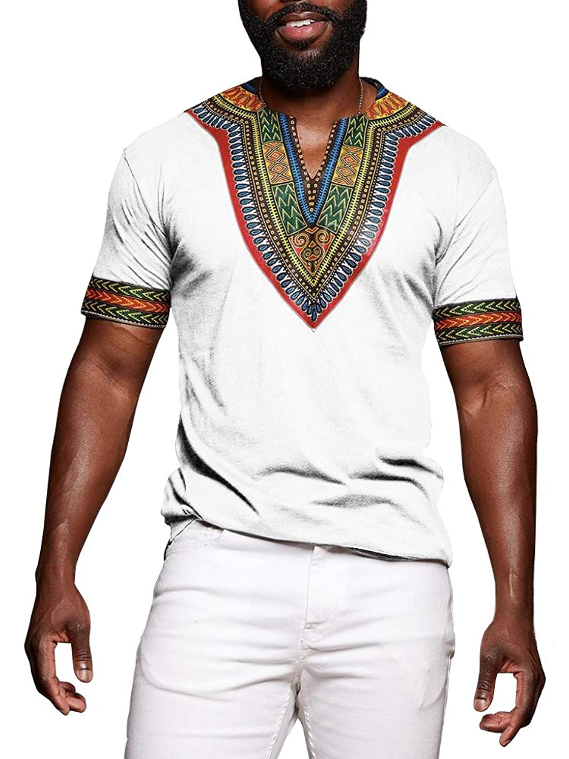 Makkrom Mens African Tribal Dashiki Floral Short Sleeve T Shirt Blouse Tops