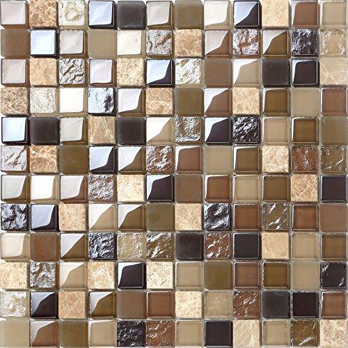 10x 10cm modello. Vetro e Pietra Naturale modello piastrelle mosaico in marrone e beige lucido e opaco mt0050modello