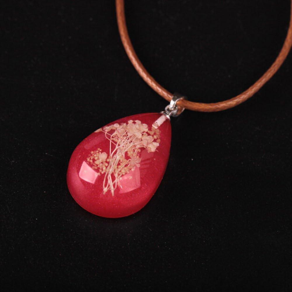 Women Delicate Luminous Dried Flower Teardrop Pendant Necklace Charm Jewelry ONE