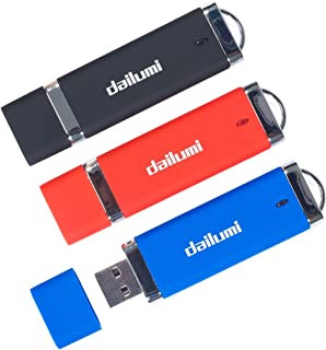 DAILUMI 32GB USB 2.0 Flash Drive, 3 Packs Memory Stick to Bring Your Customer Files, High Speed Thumb Drives - Jump Drive for Fold Data Storage, Zip Drives, Pen Drive (Red, Blue and Black)