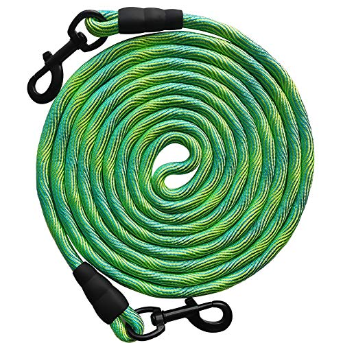 BTINESFUL 8ft/12ft/20ft/30ft/50ft Tie-Out Check Cord Long Rope Dog Leash, Recall Training Lead Leash- Great for Large Medium Small Dogs Training, Playing, Camping, or Backyard