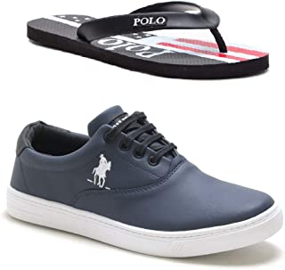 Kit Tênis Casual Polo Plus Sapatênis Masculino Confort + Chinelo