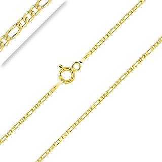 PLANETYS - Catenina Argento Sterling 925 Placcato Oro 18K Modello Figaro (1+3) Larghezza: 1.5 mm Lunghezza: 40-45-50-55-6...