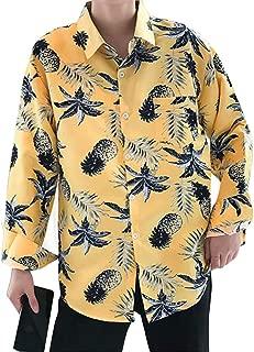 Qiyun Autumn Shirt Men Women Long-Sleeved Shirts Beach Retro Loose Hawaiian Pineapple Print Casual Shirts