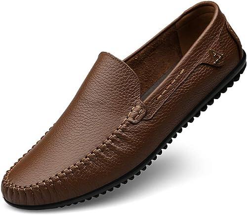 XZB-schuhe Herren Comfort Loafers Leder Frühjahr Fall Comfort Loafers & Slip-Ons schwarz braun Khaki,C,42