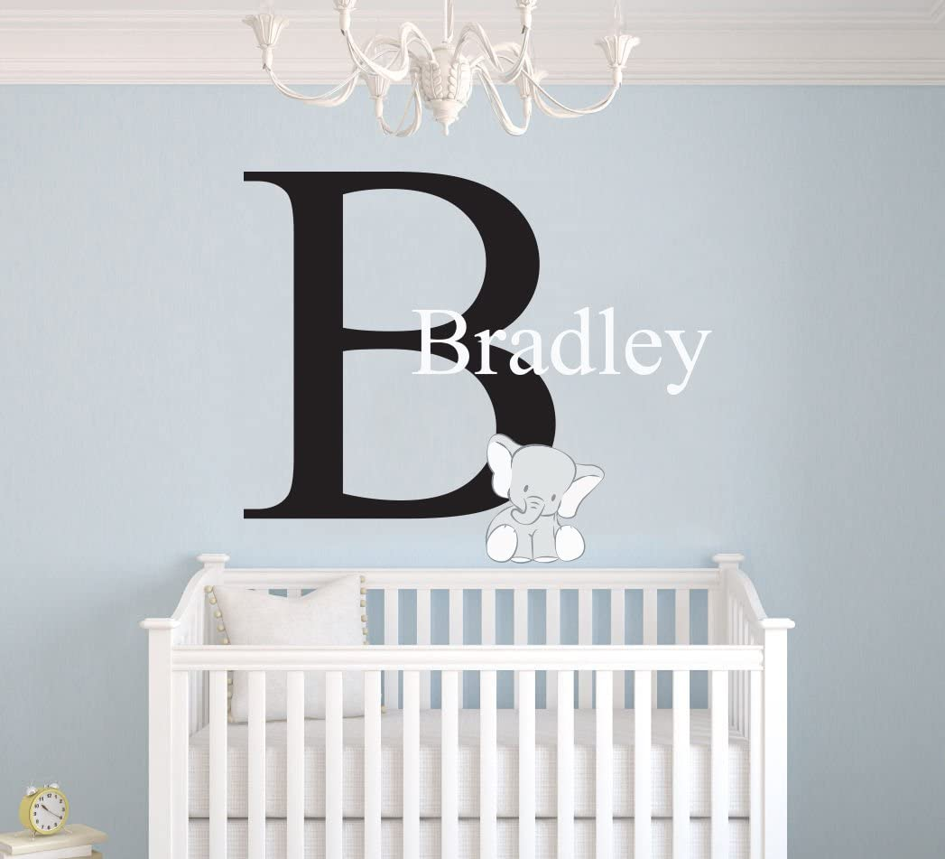 Amazon Com Custom Name Initial Elephant Animal Series Baby Boy Nursery Wall Decal For Baby Room Decorations Mural Wall Decal Sticker For Home Children S Bedroom Mm107 Wide 22 X