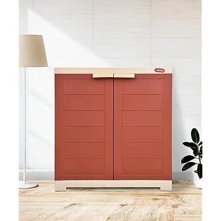 Alfa 1 Plastic Cabinet for Storage   Space Organizer   Shelves   Cupboard   Living Room   Kids   Multipurpose for Home Kitchen & Officeby Prima Brick Red-Beige Color