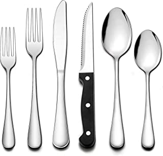 Wildone 72-Piece Silverware Set with Steak Knives, Stainless Steel Flatware Cutlery Set Service for 12, Tableware Eating U...