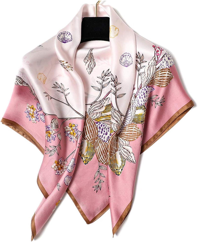 Silk Big Square Scarf Female,Fashion Accessories Office Ladies Shawl Scarf,Elegant Women Silk Head Neck Feel Soft Satin Retro Scarves,88  88 cm
