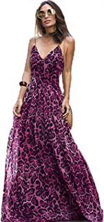 334e4c9e19ea Fenido Maxi Dress, Women Sexy V Neck Leopard Print Bohemian Boho Summer Long  Dresses