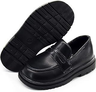 BENHERO Kids Boys Girls Loafers Slip on Soft Synthetic Leather Boat Dress School Shoes Flat