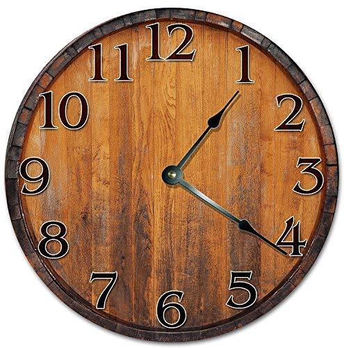HSSS Vintage Vintage Weinfass Uhr Dekorative Runde Holz-Wanduhr – 30,5 cm