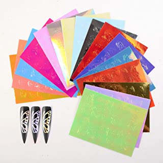 Butterfly Nail Holographic Strip Tape Nail Art Stickers Thin Laser Silver Stripe Sticker DIY Foil Nail Decal (A)