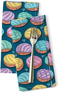 Roostery Mexican Food Luxe Cotton Sateen Dinner Napkins Kawaii Conchas Bakery Teal Bread Pan Dulce Shells Pastel Colors Pink by Selmacardoso Set of 2 Dinner Napkins
