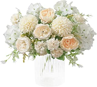 KIRIFLY Artificial Flowers, Fake Peony Silk Hydrangea Bouquet Decor Plastic Carnations Realistic Flower Arrangements Wedding Decoration Table Centerpieces 2 Packs (White)