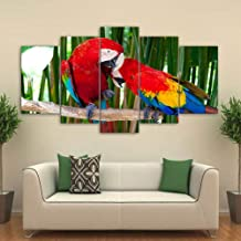 YHEGV In Prints On Canvas Canvas Home Decor Printed Modern Painting 5 Panel Colorful Birds Abstract Wall Art For Living Room Picture-B2 Framed