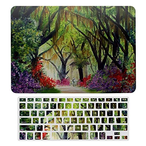For MacBook New Pro 13 Touch Case A1706、A1989、 A2159, Hard Shell & Keyboard Case Cover for Apple Mac New Pro 13 Touch, Louisiana Lane Dirt Lane Fowers Hanging Moss-196 Laptop Protective Shell Set