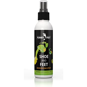 Funky Feet Foot Odor Spray - Shoe Spray Deodorizer & Odor Eliminator - No More Embarrassing Sneaker Smell - All Natural Antifungal Freshener with Tea Tree Oil and other Pure Odor Eaters for Shoes