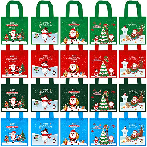Elcoho 20 Pieces Christmas Non-Woven Party Bags Party Bags Snowman Tote Treat Bag with Handles for Party Favors, 8 by 8 Inches, 4 Colors