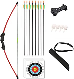 """Vogbel 45"""" Archery Bow and Arrow Set Youth Longbow Outdoor Hunting Gift Toy Beginner Bow Kit 18 Lb for Teens Kids Right/Le..."""