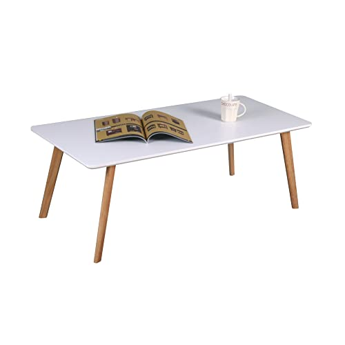 ea10fee77ee ASPECT Avignon Rectangular Wooden Coffee Table-White TOP,Natural Legs, Wood  110x50x40 cm