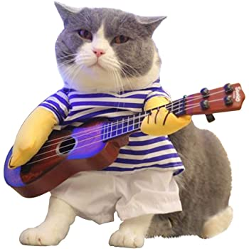 LUCKSTAR Pet Guitar Costume - Dog Costume Funny Cat Clothes Dogs Cats Super Funny Crazy Guitarist Style Pet Clothes Best Gift for Halloween Christmas Birthday Cosplay Party Weekend Parties