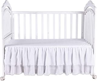 White Ruffle Crib Skirt with Lace Trim Nursery Crib Bed Skirt for Baby Boys and Girls 52 by 28 by 15 Inches