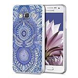 kwmobile Funda Compatible con Samsung Galaxy A3 (2015) - Carcasa para móvil - Protector Trasero Oriental Azul/Blanco