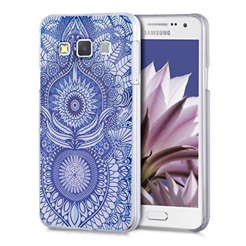 kwmobile Cover Compatibile con Samsung Galaxy A3 (2015) - Custodia Rigida Trasparente per Cellulare - Back Case Cristallo in plastica - Oriente Blu/Bianco