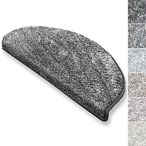 casa pura Stufenmatten Sundae | viele Varianten | Treppenteppich mit kuschlig weichem Flor | kombinierbar mit passenden Läufern | Anthrazit - Halbrund - 15 Stück Set