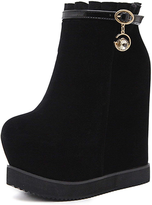 Summer-lavender Spring Platform Wedges Boots Ankle Boots Black Suede shoes Black Autumn